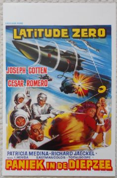 Latitude Zero, Original Belgian Movie Poster, Joseph Cotten, Cesar Romero, '69